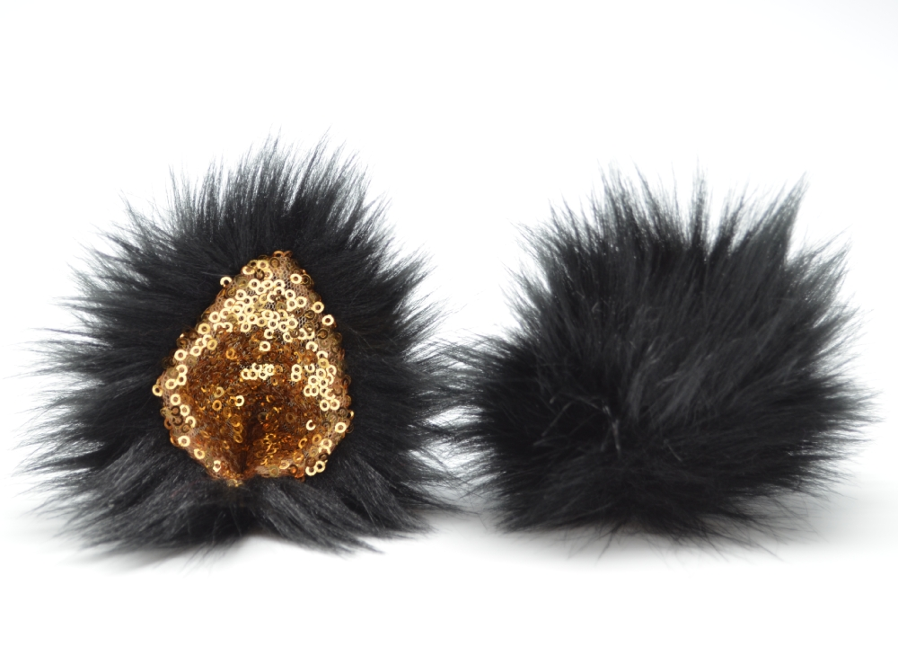 Black and Gold Sequin Ears